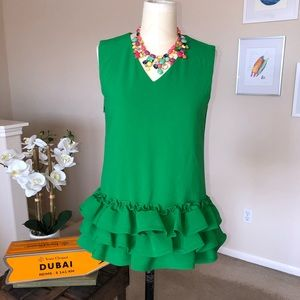 Kelly green top with horsehair ruffles